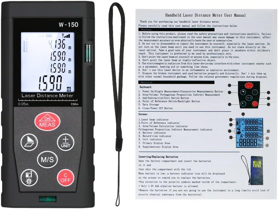 Medidor de distancia digital lá-ser Registro de datos,Roeam distancia metro inalambrico Infrarrojo telemetro portátil Alta precision Para decoración,reparación,80m/100m/120m/150m