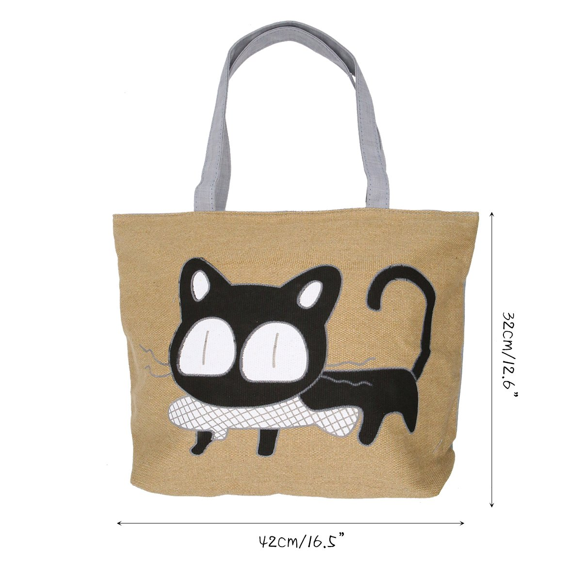 ddde71372650 Cute Cat Handbag Large Canvas Tote Bag Reusable Grocery Beach Bag Shopping  Bag With Zipper For Women And Girls(Yellow)