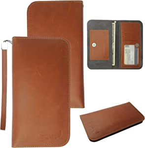 Dash X Plus LTE Leather Pouch, HJ Power[TM] For BLU Dash X Plus LTE (Unlocked)--FW2 Leather PU WALLET POUCH Brown