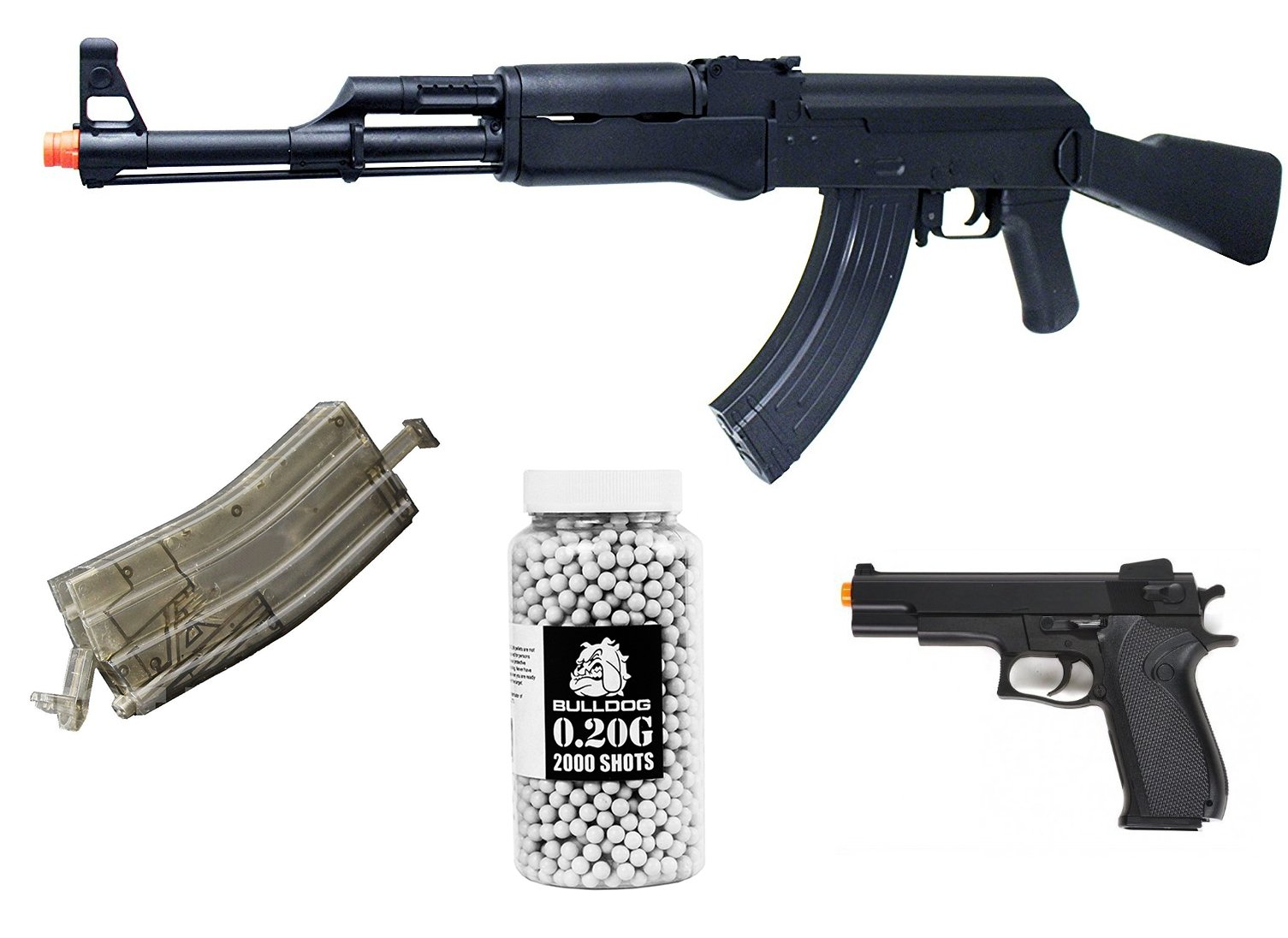 Airsoft Bundle- SRC AK47 High Power Pro Electric Rifle, Airsoft 500 Round BB Hi Capacity Speed loader, Airsoft 1911 Style Spring Pistol,Bulldog 0.20g 2000 Airsoft BB Pellets White by A&N
