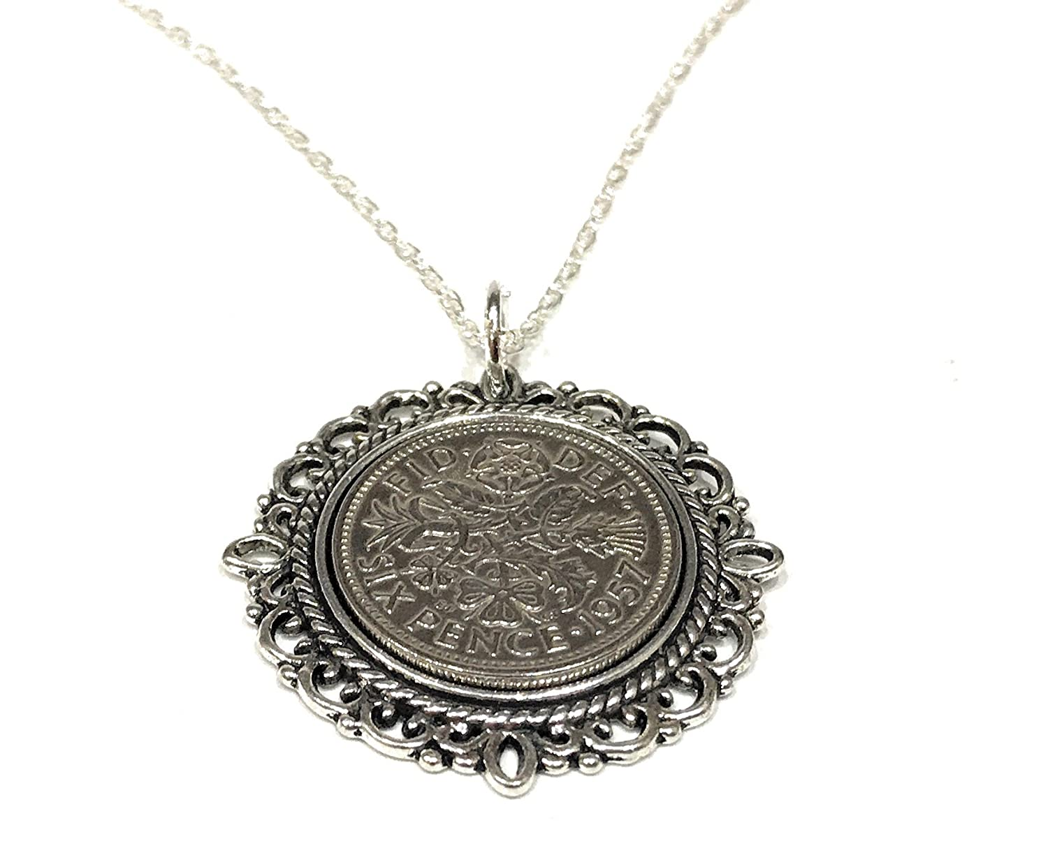 Fancy Pendant 1957 Lucky sixpence 61st Birthday Sterling Silver 18in chain