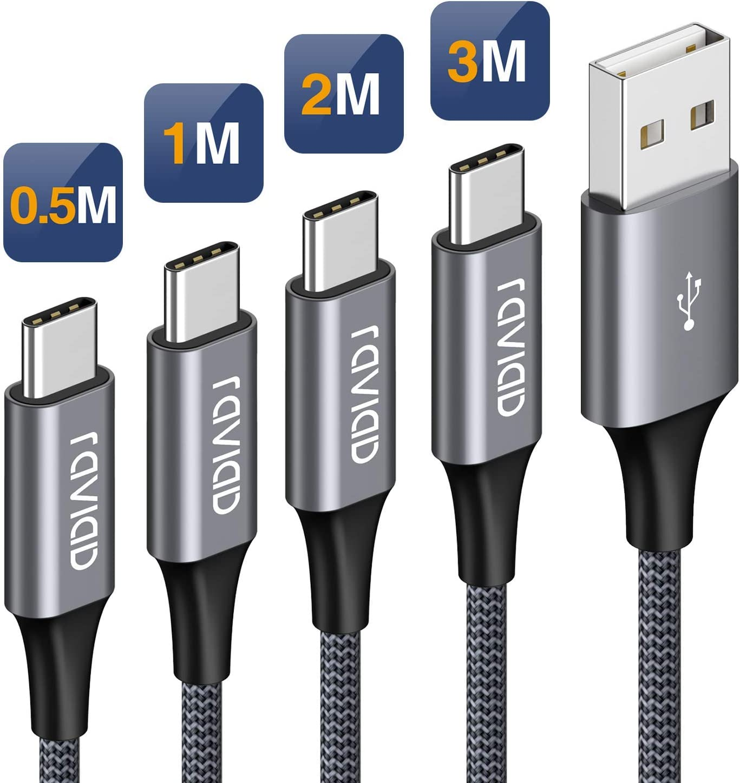 RAVIAD Cable USB Tipo C [4Pack 0.5M 1M 2M 3M] Cargador Tipo C Carga Rápida y Sincronización Cable USB C para Galaxy S10/S9/S8 Plus Note9, Xiaomi Mi A2/A1, Huawei P30/P20/Mate20, Xperia XZ, LG G7 Gris