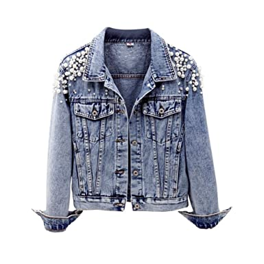 d839b6feb0f4 Cystyle 2018 Damen Jeansjacke Übergangsjacke Leichte Jacke Denim Casual mit  Perle und Dragonfly (Stil 1