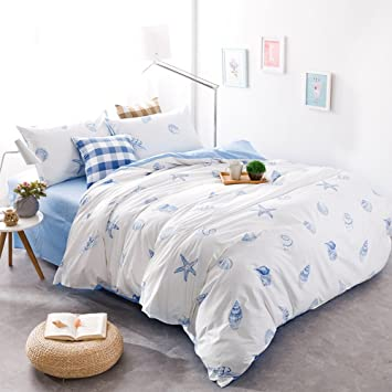 Brandream Blue And White Nautical Bedding Coastal Beach Theme Bedding Sets Hypoallergenic Bedding For Teen Adults