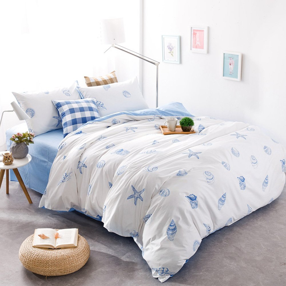 Brandream Blue And White Nautical Bedding Coastal Beach Theme Bedding Sets 100% Cotton Soft Duvet Cover Set 5-Piece Bed in a Bag Full Size
