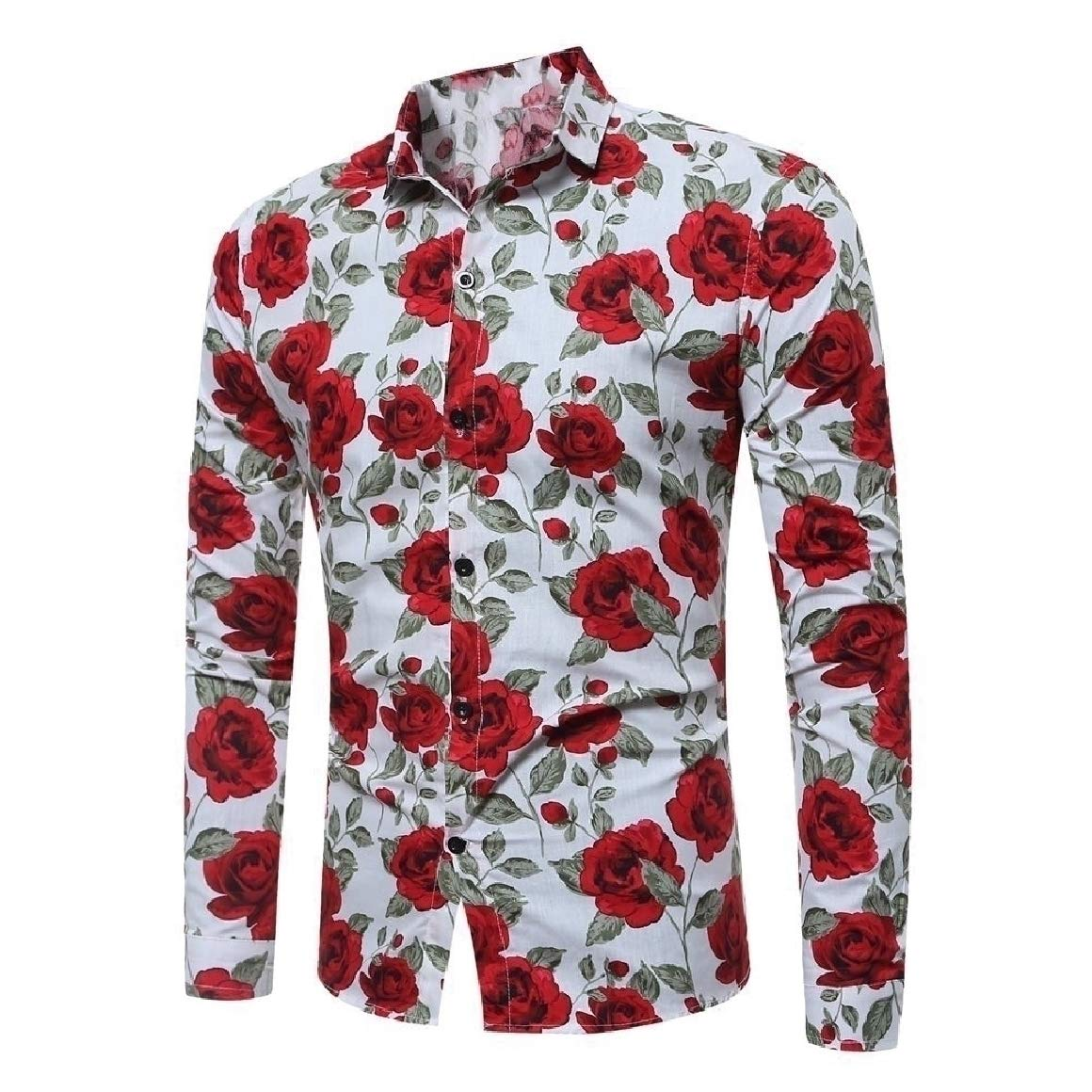 Abetteric Mens Plus Size Single-Breasted Flower Print Polo Shirt
