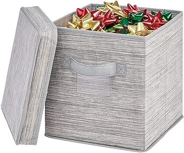 mDesign Caja organizadora con Tapa – Caja de Tela Cuadrada para Adornos navideños, Lazos, etc. – Organizador de ...
