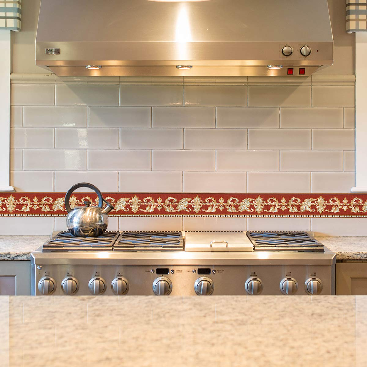10 cm x 5 m selbstklebende Wandbord/üre f/ür Badezimmer Blumenmuster Taillenbord/üre Uoisaiko PVC-Tapetenbord/üre zum Abziehen und Aufkleben modernes Muster