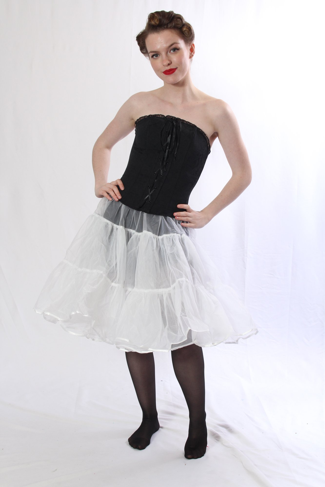 Petticoat Crinoline. Perfect Petticoat Skirt for Vintage Dresses, Petticoat Dresses, Poodle Skirts as Rockabilly Adult Tutu Skirt. Tulle Fabric; 22' Length - White Petticoat by BellaSous (Image #2)