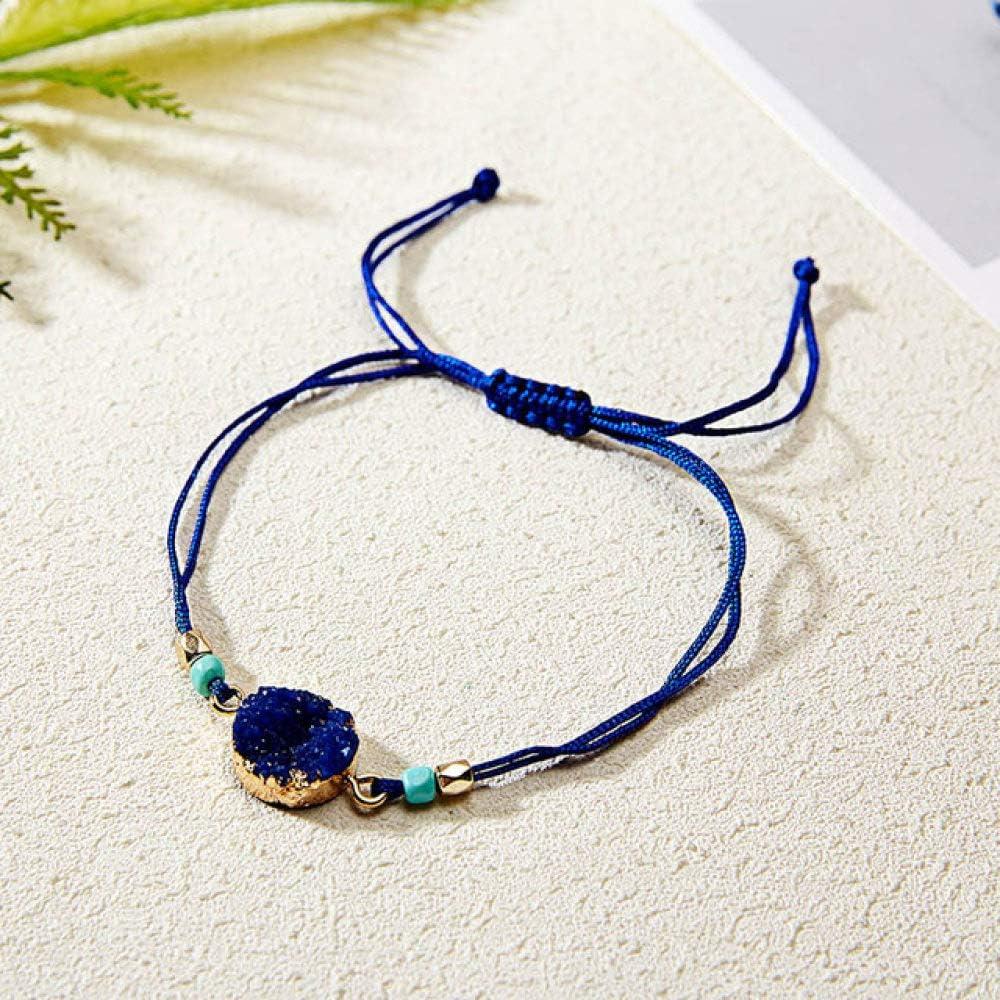 ZMMZYY Pulsera Piedra,Brillante Azul Marino Pulsera de Resina Natural Piedra Joyas para Mujeres cordón de Cristal Encanto SOGA Artesanal Regalo de Amistad