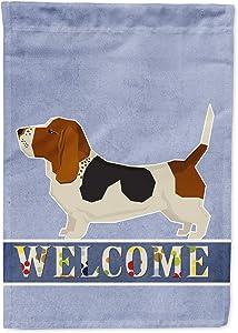 Caroline's Treasures CK3577GF Basset Hound Welcome Flag Garden Size, Small, Multicolor