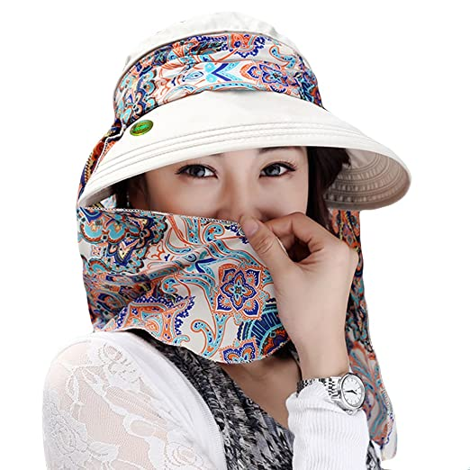 2f1170c0065 LOCOMO Detachable Top Neck Cover Mask Sun Visor Wide Brim Hat Cap FFH323BEI