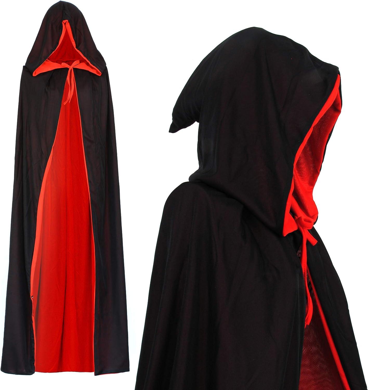 Vampiro Capucha Capa Manto Reversible Negro Rojo para Niños o Adultos Halloween Dracula Disfraz 130cm