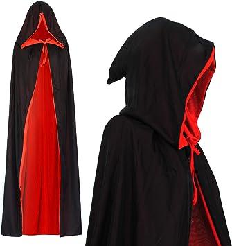 Vampiro Capucha Capa Manto Reversible Negro Rojo para Niños o ...
