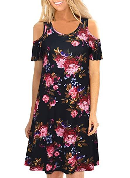 4c3f889243f Womens Black Floral Cold Shoulder Short Sleeve Loose Swing Flowy T Shirt  Shift Dresses