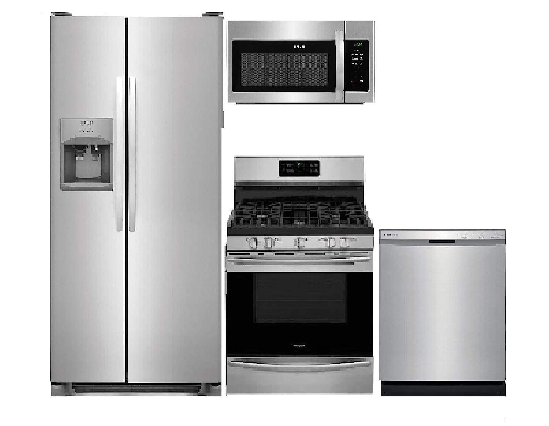 "Frigidaire 4 Piece Stainless Steel Kitchen Package FFSS2615TS 36""Freestanding Refrigerator,FGGF3047TF 30""Gas Freestanding Range,FFMV1645TS 30""Over the Range Microwave FFCD2418US 24"" BuiltIn Dishwasher"