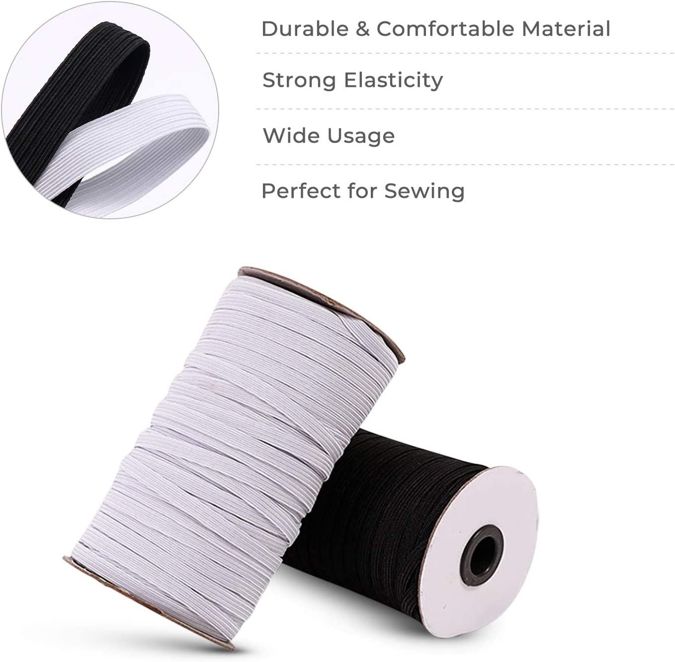 100 Yards Elastic Band for Sewing 1//2 inch Black Strap Sewing Craft DIY Mask and Bedspread Cuff Flex Fabrics Cord Bungee for Handmade Making High Elasticity Braided Elastic Rope