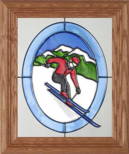 Skier in Red Jacket on Mountain 10.5 Wide x 12.5 High Hand Painted Art Glass Panel