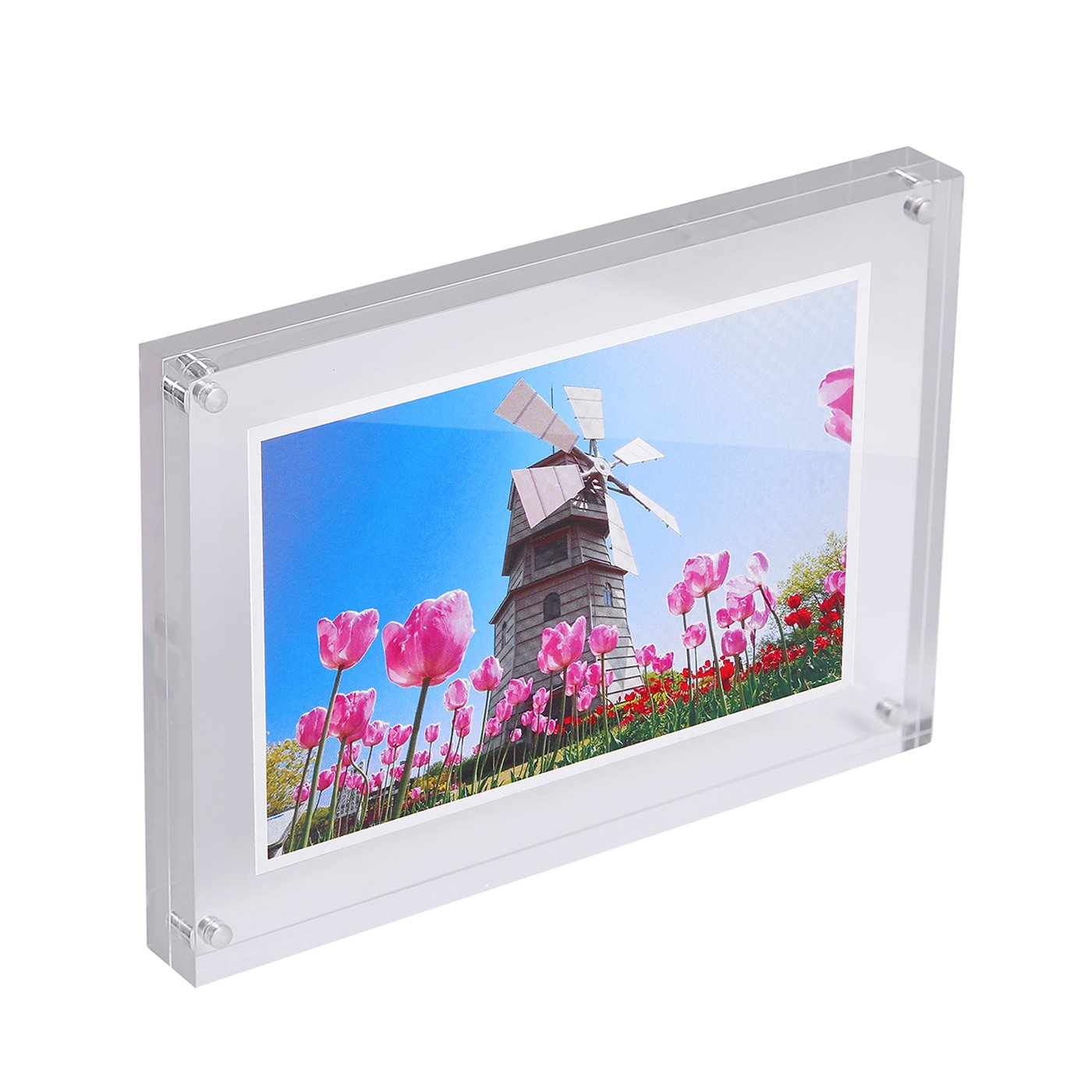 HDE Acrylic Photo Frame 5x7 Magnetic Double Sided Clear Photo Frame 15mm Thickness Free Standing Desktop Picture Display (2 Pack)