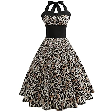 9991b2d6867 VENMO Leopard Print Women Vintage Cocktail Party Swing Dress Slim Fit High  Waist Elegant 1950s Hepburn Style Swing Dress Round Neck Bowknot Sleeveless  ...