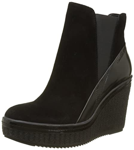 dd65eedf4822b Calvin Klein Jeans Women s Sasha Suede Box Smooth Ankle Boots ...