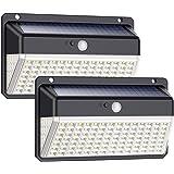 Solar Lights Outdoor 118 Led, QTshine [2200mAh 270º Wide-Angle Lighting] Solar Motion Sensor Lights, 3 Modes IP65 Waterproof