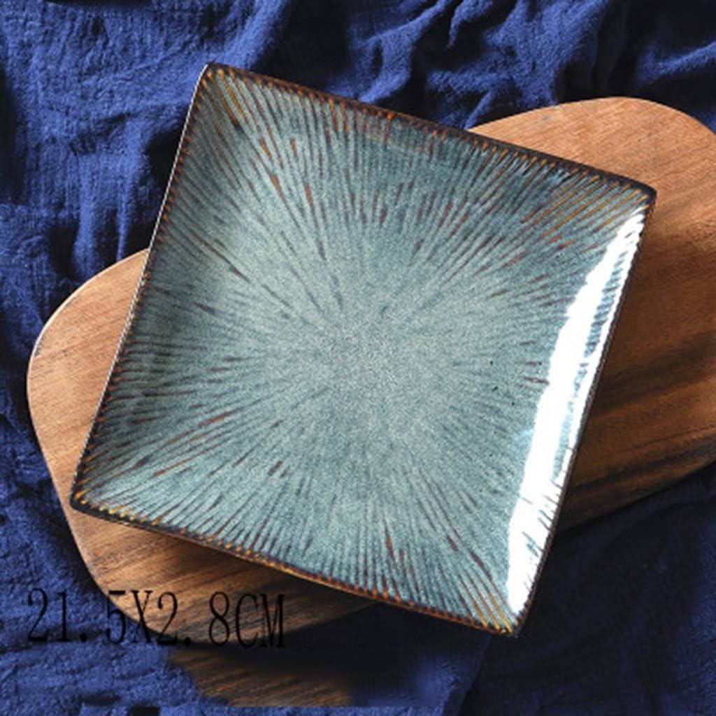 SMC Assiette Assiette /à Salade Assiette Plate Assiette Plate Assiette /à d/îner Assiette Ouest Assiette C/éramique cr/éative de Style Japonais m/énage Gris carr/é Carr/é 8,5 Pouces Bleu
