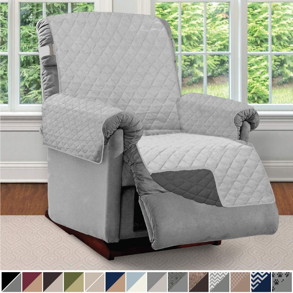 Sofa Shield Original Patent Pending Reversible Recliner Slipcover, 2 Inch Strap Hook Seat Width Up to 28 Inch Washable Furniture Protector, Slip Cover for Pets, Kids, Recliner, Light Gray Charcoal