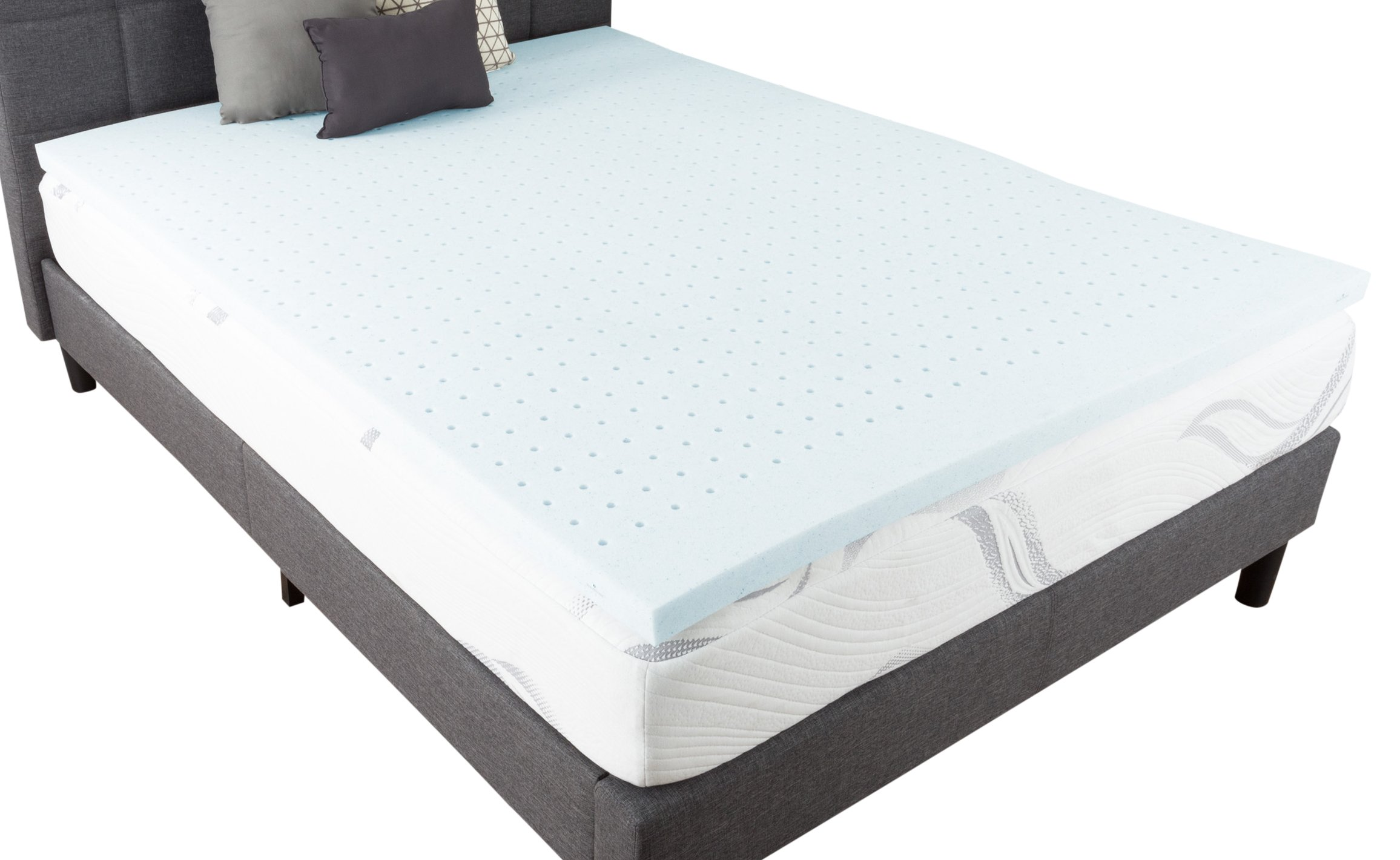 Bluestone 82-TEX1031 Gel Infused Topper-2 Inch Size Memory Foam Mattress Pad with Ventilation for Support, Cooling, and Comfort, Queen, White