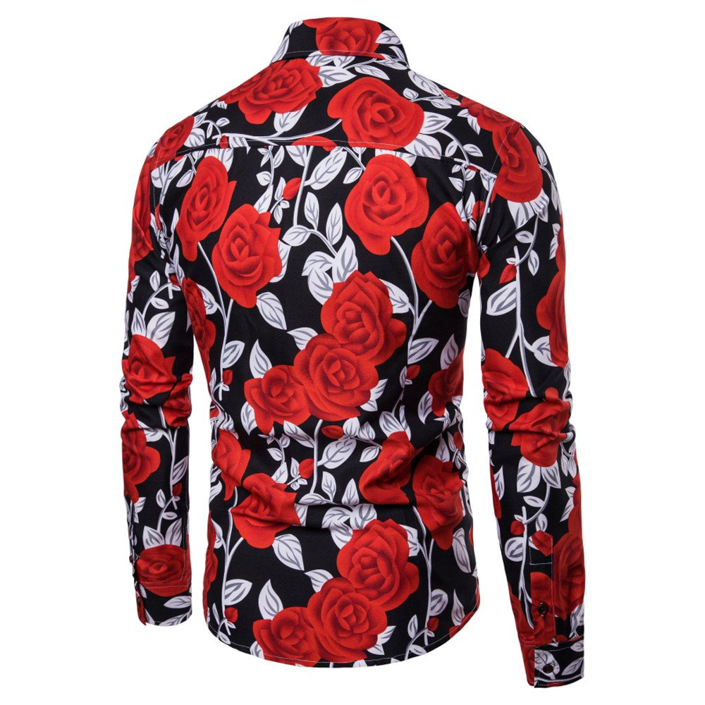 Hombre camisa Imprimir manga larga Otoño,Sonnena ❤ Blusa estampada hombre moda flor Camisas ocasionales de manga larga Slim Tops: Amazon.es: Hogar