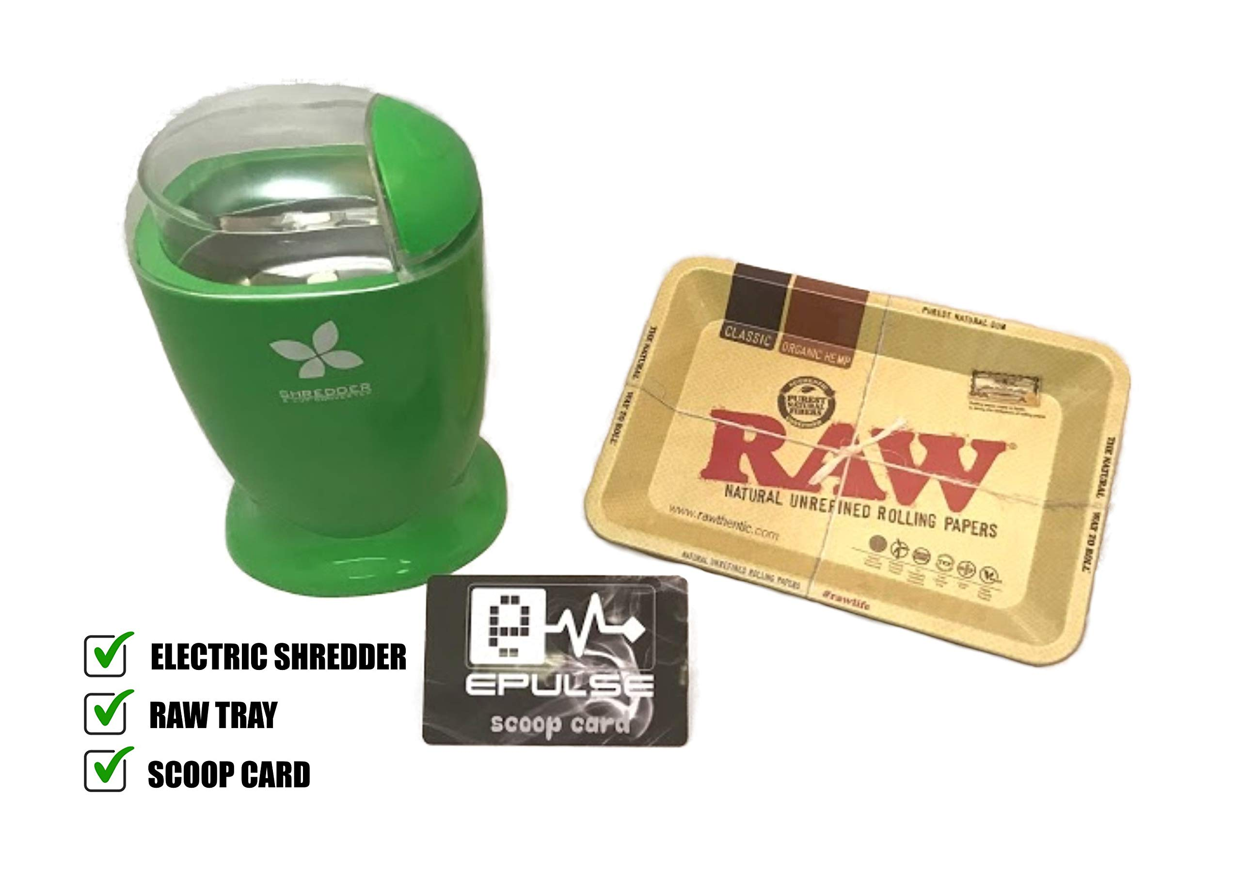Bundle: Raw Metal Rolling Tray Mini & Electric Herb Shredder - Cutter - Converter with epulse Scoop Card by RAW