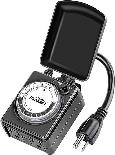 Plusmart-24-Hour-Outdoor-Lights-Timer-Waterproof,-Programmable-Mechanical-Timer