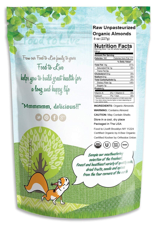 Food to Live Almendra Bio (Eco, Ecológico, cruda, sin cáscara, Kosher, no pasteurizada) (8 onzas): Amazon.es: Alimentación y bebidas