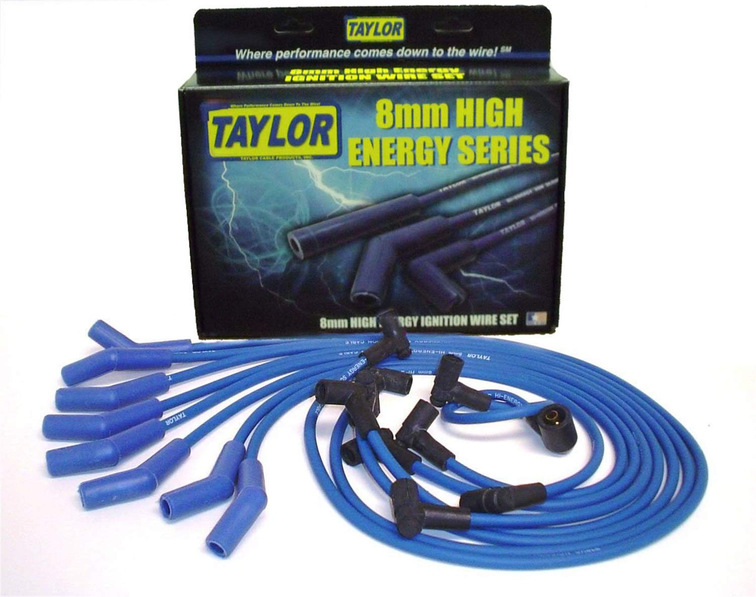 Taylor Cable 64604 Blue 8mm High Energy Spark Plug Custom Wire Set by Taylor Cable