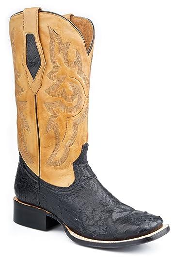 8413393f3dd Amazon.com | Roper Mens Exotic Black Square Toe Full Quill Ostrich ...
