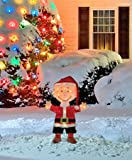 ProductWorks 32-Inch Peanuts 3D LED Pre-Lit Charlie Brown in Santa Suit Christmas Décor, 80 Lights