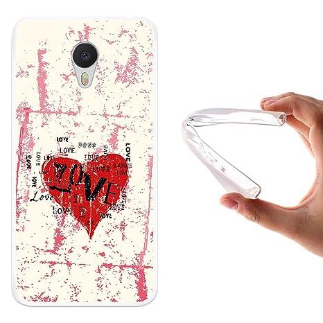 WoowCase Funda Meizu m3 Note, [Meizu m3 Note ] Funda Silicona Gel Flexible Corazón Amor, Carcasa Case TPU Silicona - Transparente