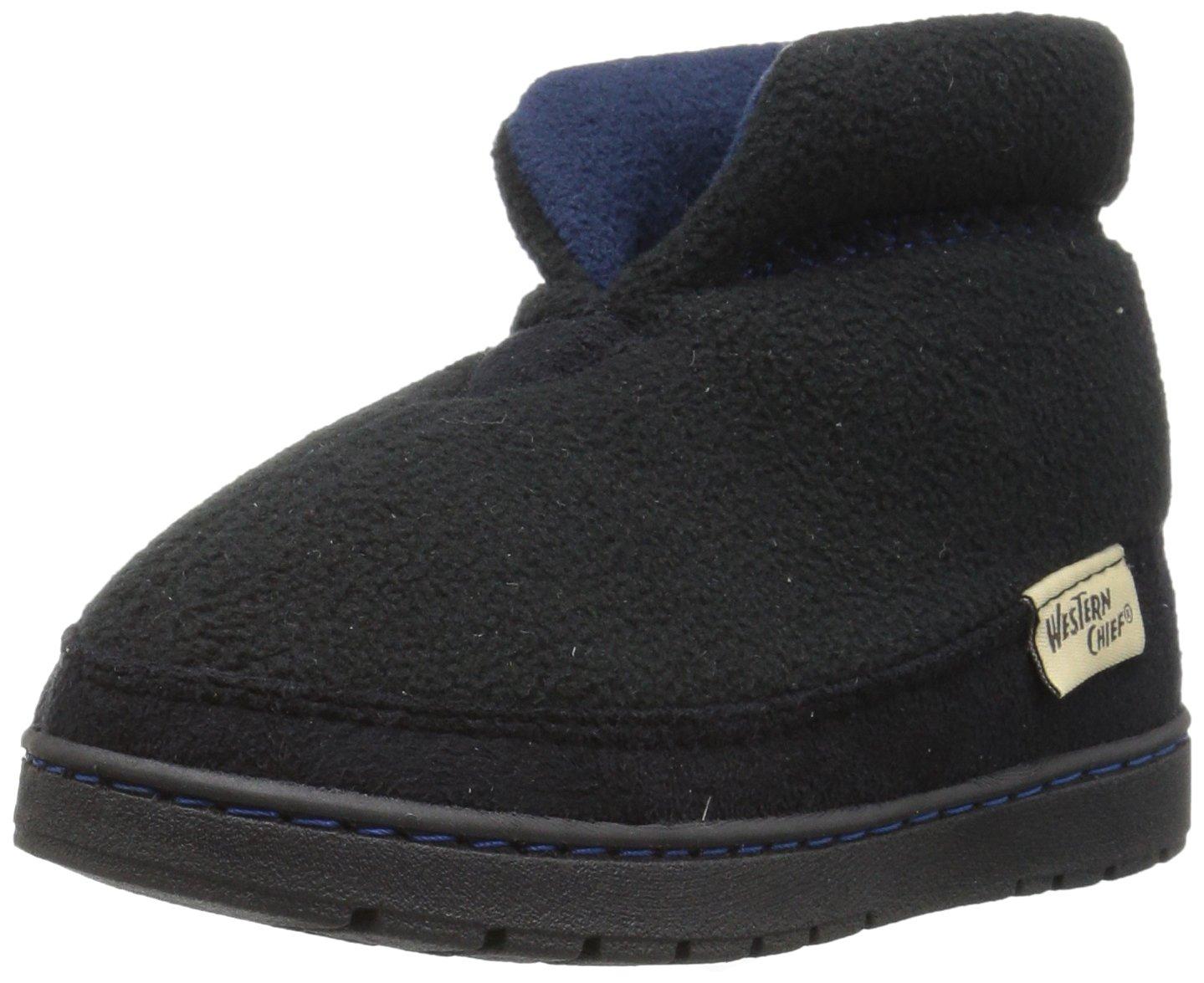 Western Chief Kids Plush Slipper Boot, Black, 2 M US Little Kid