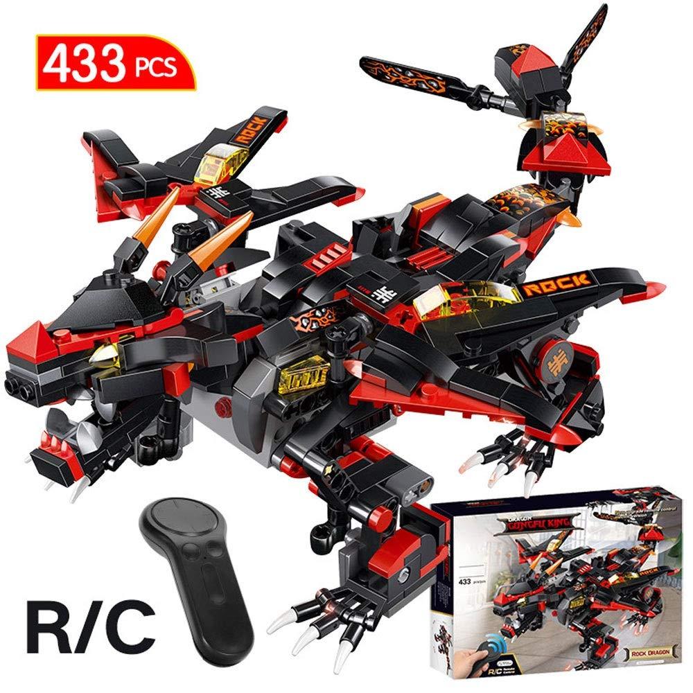ElevenY 433ピース RC デビルウォードラゴンモデル ビルディングブロック 互換リモコン レンガ DIY おもちゃ 子供 大人 誕生日 クリスマスコレクション ギフト - ブラック   B07RZ6V59S