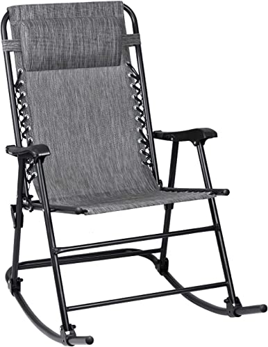 Flamaker Patio Rocking Chair Zero Gravity Chair Outdoor Folding Recliner Foldable Lounge Chair Outdoor Pool Chair