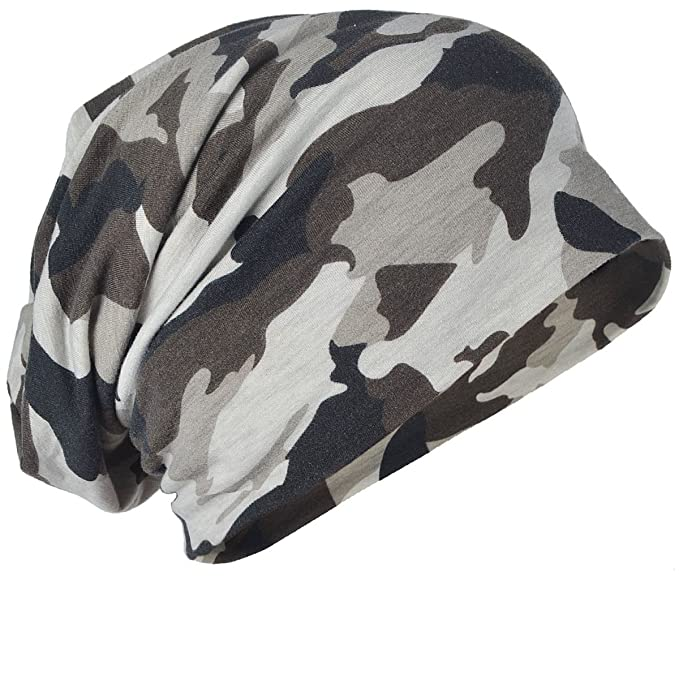 2b7b40a36e6 Mens Camouflage Thin Slouchy Beanie Cap Hat Oversize (One size ...