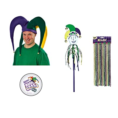 Mardi Gras Jester Costume: Giant Jester Hat with Bells, Jester Jingle Wand, 24 Metallic Bead Necklaces and an Exclusive ElevenPlus2 Mardi Gras Button: Toys & Games