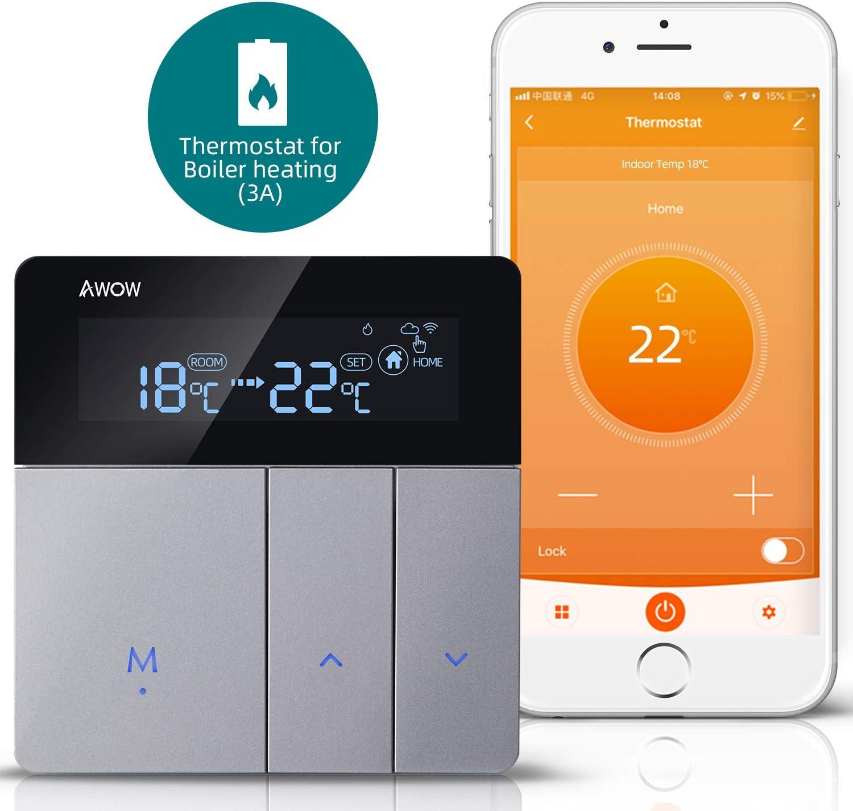 AWOW Termostato WiFi para Caldera de Gas y Agua, Termostato Inteligente Programable con Pantalla LCD, Control Remoto de Smartphone, Compatible con Alexa/Google Home AC220 V 3 A