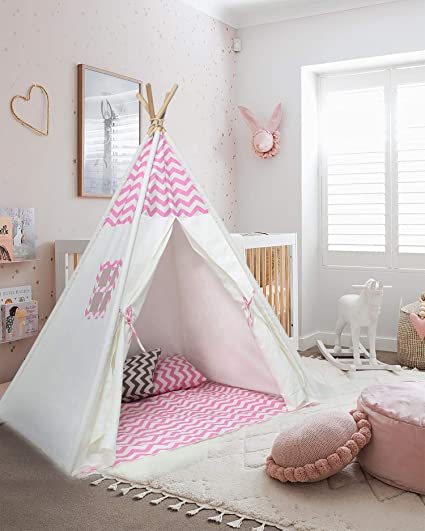 official photos 17465 7e4b5 UKadou Girls Teepee Tent for Girls Room -Little Baby Girl Tent,Play Teepee  for Girls Tent Indoor with Window, Roomy Pocket & Carry Bag, Toddlers ...