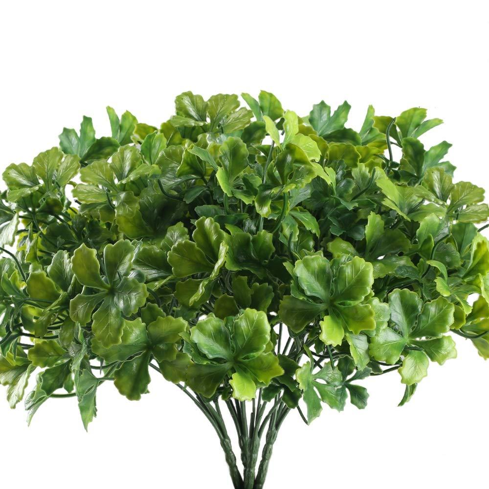 Nahuaa Artificial Plants Outdoor, 4PCS Fake Greenery Shrubs Faux Plastic Clover Leaf Bushes Bundles Table Centerpieces Arrangements Home Kitchen Office Windowsill Spring Decorations