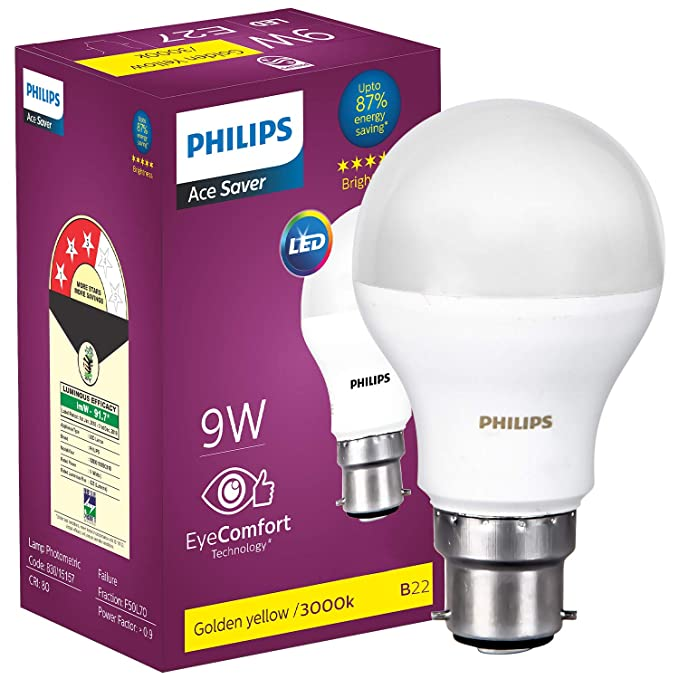 Philips B22 9 Watt LED Bulb  Warm White and Golden Yellow  LED Bulbs