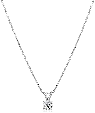 ba9965ba0a87e IGI Certified 14k White Gold Round-Cut Diamond Pendant Necklace (0.50 cttw
