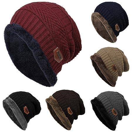 0a9e9b6090658 Voiks Unisex Winter Beanie Hat Scarf Set Warm Knit Hat Thick Knit Beanie  Stars Cap for Men Women  Amazon.co.uk  Kitchen   Home
