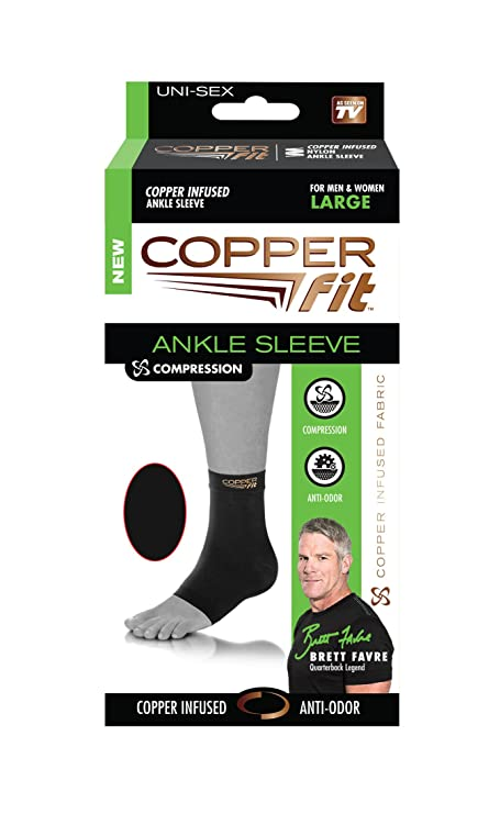 1fd0d18123 Copper Fit Original Recovery Ankle Sleeve, Black with Copper Trim, Medium 2  pack