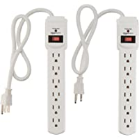 AmazonBasics 6-Outlet Surge Protector Power Strip 2-Pack, 200 Joule